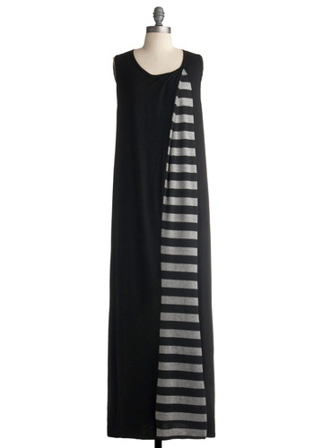 Monorail Maven Dress - Black, Grey, Stripes, Casual, Maxi, Sack, Sleeveless, Long, Jersey