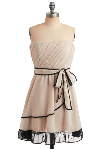 While I Drifted In Dress in Cirrus - Cream, Black, Solid, Bows, Ruffles, Tiered, Trim, Special Occasion, Prom, Wedding, Party, A-line, Sleeveless, Short