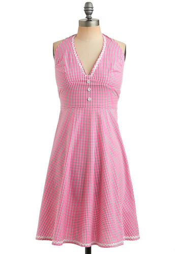 Pink-Me-Up Dress - Pink, White, Checkered / Gingham, Buttons, Trim, Casual, A-line, Halter, Spring, Summer, Long, Rockabilly, Pinup