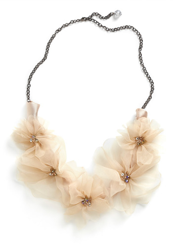 Lavish Lei Necklace - Cream, Beads, Chain, Flower, Formal, Prom, Wedding, Party, Casual, Statement, Spring, Summer