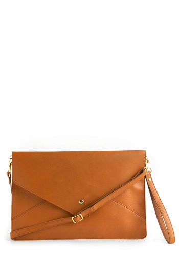 En Vogue Envelope Clutch - Tan, Solid, Casual, Spring, Summer, Fall, Press Placement