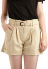 High Street Pleat Shorts - Tan, Solid, Pleats, Pockets, Woven, Casual, Urban, Spring, Summer, Short