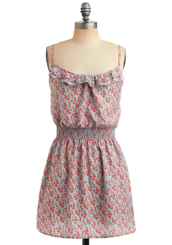 Everything's Bouquet Dress - Floral, Ruffles, Casual, A-line, Spaghetti Straps, Spring, Summer, Orange, Blue, Short