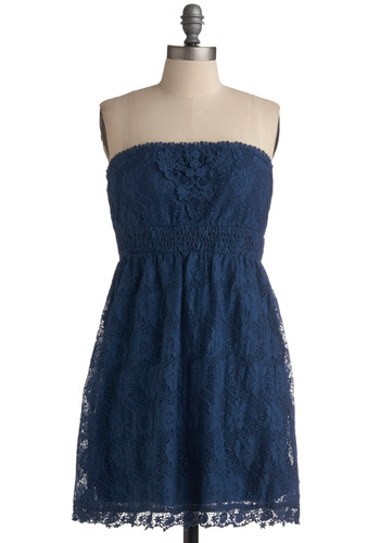 Escape the Ordinary Dress - Blue, Floral, Crochet, Lace, Trim, Casual, A-line, Empire, Strapless, Spring, Summer, Mid-length