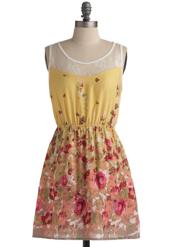 Well, Yellow There! Dress - Yellow, Multi, Orange, Green, Pink, White, Floral, Lace, Casual, A-line, Sleeveless, Tank top (2 thick straps), Spring, Summer, Short