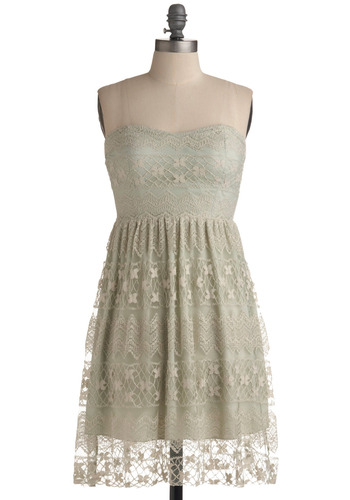 In Awe of You Dress - Green, Tan / Cream, Solid, Floral, Embroidery, Lace, Party, Vintage Inspired, A-line, Empire, Strapless, Spring, Summer, Mid-length