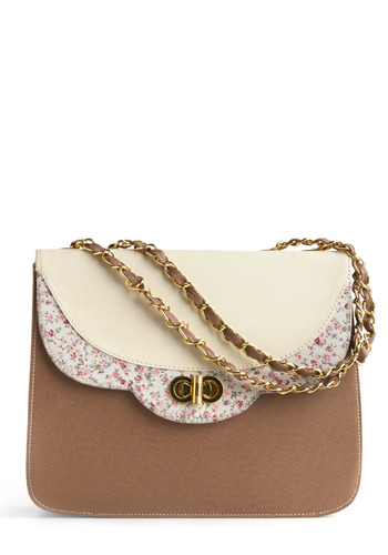 Posy Polish Shoulder Bag - Brown, White, Multi, Solid, Floral, Buckles, Chain, Work, Casual, Vintage Inspired, Spring, Summer, Fall, 80s