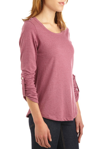 Tee the Future Top - Pink, Solid, Buttons, Casual, Long Sleeve, 3/4 Sleeve, Fall, Winter, Mid-length
