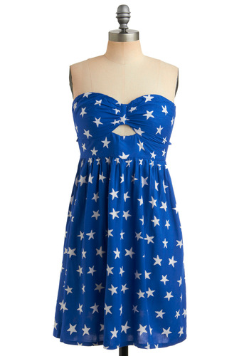 See the Stars Dress by Sugarhill Boutique - Blue, White, Novelty Print, Cutout, Casual, A-line, Empire, Strapless, Summer, Mid-length, Print, International Designer