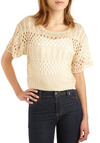 Dream of the Crop Top - Cream, Knitted, Casual, Boho, Short Sleeves, Spring, Summer, Short, Vintage Inspired, 70s