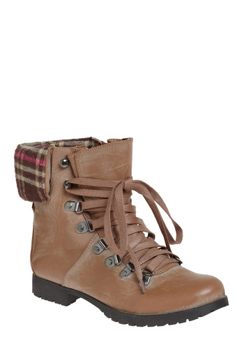 Coastal Hike Boot - Tan, Multi, Solid, Plaid, Bows, Casual, Menswear Inspired, Spring, Fall, Winter