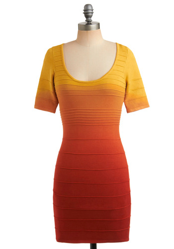Ombre Goodness Dress - Orange, Backless, Cutout, Party, Casual, Sheath / Shift, Short Sleeves, Spring, Summer, 80s, Short, Red, Yellow