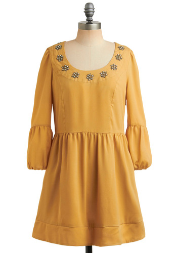 Gold Card Dress - Yellow, Solid, Beads, Pearls, Pleats, Pockets, Party, Vintage Inspired, 60s, A-line, 3/4 Sleeve, Short