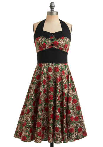 Budding Starlet Dress - Multi, Red, Green, Brown, Tan / Cream, Black, White, Floral, Animal Print, Buttons, Party, Rockabilly, Pinup, Vintage Inspired, A-line, Halter, 50s, Mid-length, Cotton