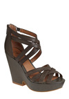 Crisscross Paths Wedge - Brown, Solid, Cutout, Exposed zipper, Party, Casual, Spring, Summer, Wedge