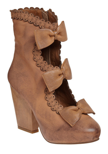 Carmilla Boot by Jeffrey Campbell - Brown, Bows, Cutout, Trim, Party, Casual, Vintage Inspired, Leather, Platform, High, Steampunk