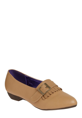 Kiltie Conscience Flat - Tan, Solid, Buckles, Fringed, Work, Casual, Spring, Summer, Fall