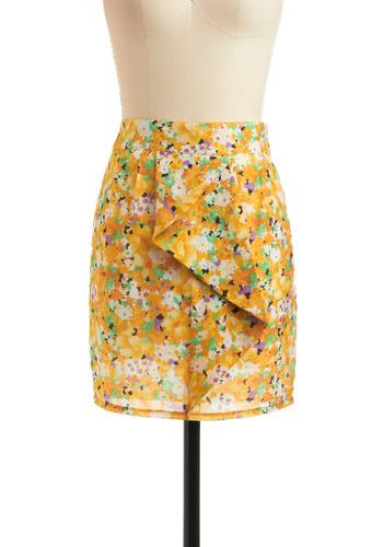 Sweet Solarium Skirt | Mod Retro Vintage Skirts | ModCloth.com :  floral yellow cascade white