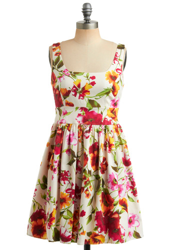Of Corsage Dress in Buds | Mod Retro Vintage Printed Dresses | ModCloth.com :  summery scoopneck twirly green