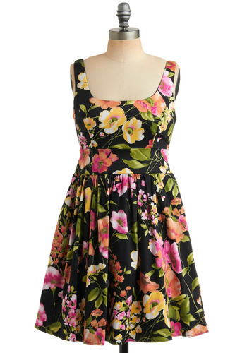 Of Corsage Dress in Blossom | Mod Retro Vintage Printed Dresses | ModCloth.com :  summery scoopneck twirly green