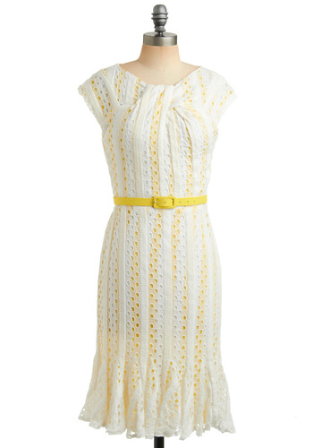 Lemon Fizz Dress | Mod Retro Vintage Printed Dresses | ModCloth.com :  striped sweet citrus white
