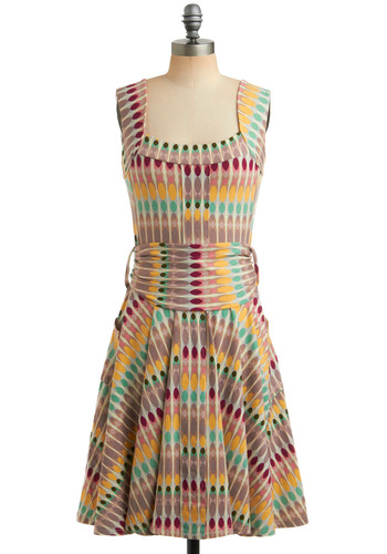 Who's the Bossa Nova Dress - Multi, Red, Yellow, Green, Blue, Purple, White, Print, Bows, Pockets, Casual, Vintage Inspired, A-line, Sleeveless, Tank top (2 thick straps), Spring, Summer, Long