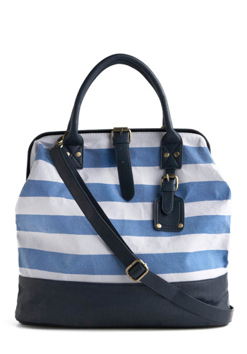Sea What I Mean Bag - Blue, White, Stripes, Buckles, Studs, Casual, Nautical, Spring, Summer