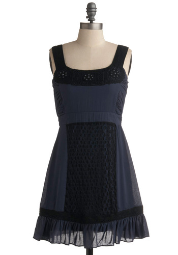 Fit to be Tide Dress - Blue, Black, Bows, Lace, Pearls, Ruffles, Casual, A-line, Empire, Tank top (2 thick straps), Spring, Summer, Mid-length