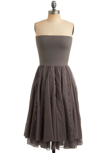 Next Versatile Dress in Earthy - Grey, Solid, Tiered, Casual, A-line, Empire, Strapless, Spring, Summer, Fall, Long