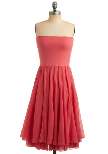 Next Versatile Dress in Coral | Mod Retro Vintage Solid Dresses | ModCloth.com :  banded stitched convertible layered