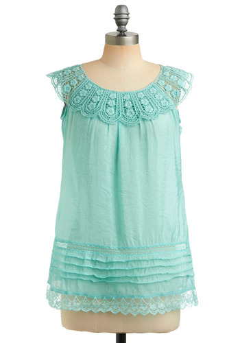 Desired Traits Top - Blue, Solid, Crochet, Lace, Trim, Casual, Sleeveless, Spring, Summer, Mid-length