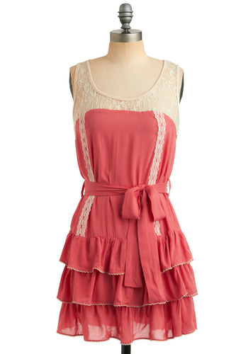 Playful of Smiles Dress - Pink, Tan / Cream, Solid, Lace, Ruffles, Tiered, Trim, Party, Shift, Tank top (2 thick straps), Spring, Summer, Short, Scoop