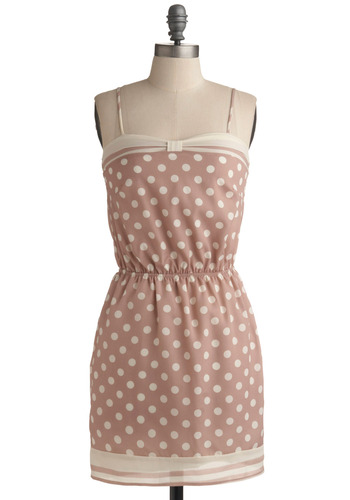Dots to Give Dress - Pink, Tan / Cream, Polka Dots, Trim, Casual, A-line, Spaghetti Straps, Spring, Summer, Mid-length
