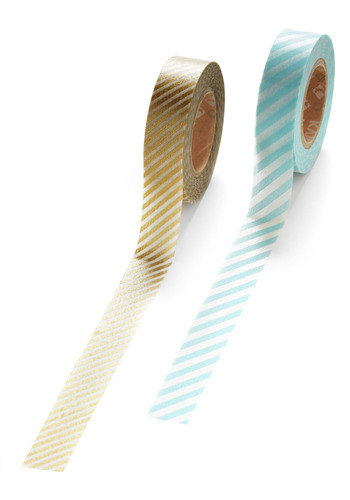 Glad to Adhere It Tape Set in Teal and Gold - Blue, Gold, Stripes, Work, Casual, Dorm Decor