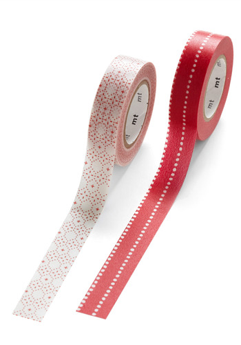 Glad to Adhere It Tape Set in Red and White - Red, White, Polka Dots, Print, Work, Casual, Dorm Decor