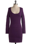 Oh Wow Dress - Purple, Solid, Backless, Cutout, Casual, Sheath / Shift, Long Sleeve, 80s, Winter, Short