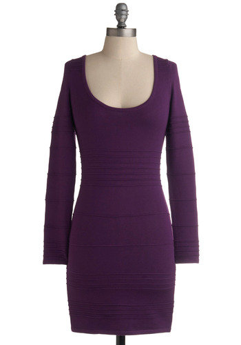 Oh Wow Dress - Purple, Solid, Backless, Cutout, Casual, Shift, Long Sleeve, 80s, Winter, Short
