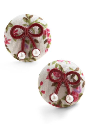 Bow So Dainty Earrings - White, Multi, Red, Green, Purple, Pink, Floral, Bows, Pearls, Wedding, Party, Casual