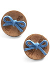 A Real Corker Earrings - Blue, Brown, Bows, Party, Casual