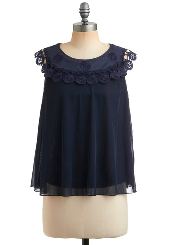 Central Park Stroll Top - Blue, Solid, Cutout, Lace, Trim, Party, Casual, Sleeveless, Tank top (2 thick straps), Mid-length
