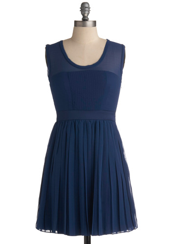 Blueberry Blintz Bliss Dress - Blue, Solid, Pleats, Party, Casual, A-line, Sleeveless, Spring, Summer, Short