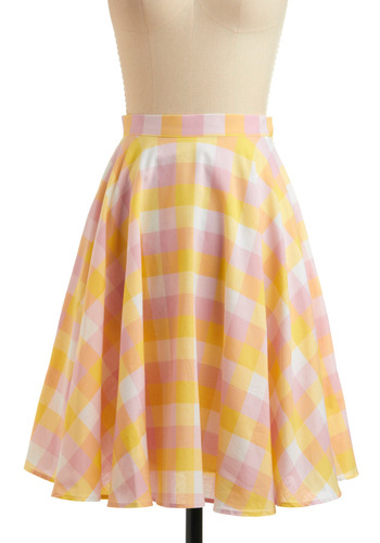 A Splash of Citrus Skirt - Yellow, Pink, White, Plaid, Casual, Vintage Inspired, 50s, A-line, Spring, Summer, Mid-length