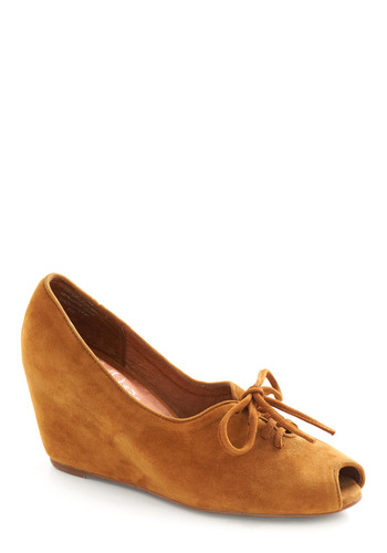 Cinnamon Shoe-gar Wedge by Jeffrey Campbell - Brown, Solid, Cutout, Casual, Fall, Wedge, Leather, Suede, Lace Up, Peep Toe, Mid
