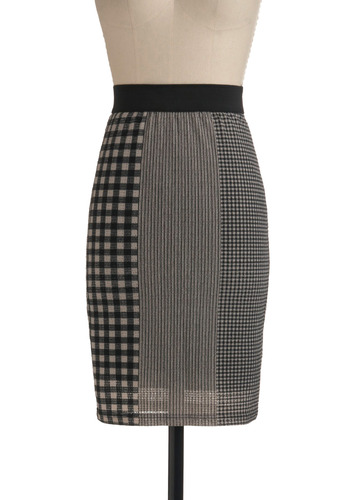 Scale Model Skirt | Mod Retro Vintage Skirts | ModCloth.com :  mixed prints gingham panels geometric