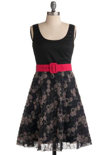 Rosette-a Stone Dress | Mod Retro Vintage Printed Dresses | ModCloth.com :  magenta belt gray sand