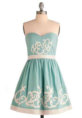 Royal Icing Dress - Blue, White, Solid, Embroidery, Trim, Formal, Prom, Wedding, Party, A-line, Strapless, Spring, Summer, Show On Featured Sale, Winter, Mid-length