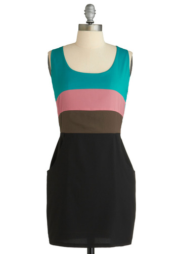 Colorblock Party Dress - Blue, Pink, Brown, Pockets, Party, Casual, Shift, Twofer, Tank top (2 thick straps), Spring, Summer, Multi, Black, Short