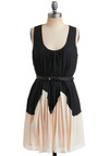 Elegant Motion Dress - Braided, Pleats, Party, Casual, Tent / Trapeze, Twofer, Tank top (2 thick straps), Tan / Cream, Black, Mid-length