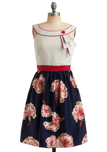 Carousel Cutie Dress | Mod Retro Vintage Printed Dresses | ModCloth.com :  embellished collar vintage inspired summer dress