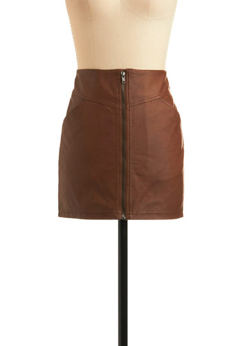 Pros and Concerts Skirt - Brown, Solid, Exposed zipper, Pockets, Casual, Vintage Inspired, 70s, Mini, Spring, Summer, Short